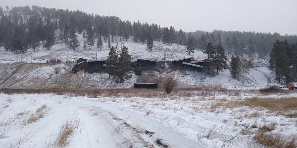 В Забайкальском крае с рельсов сошёл грузовой поезд